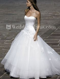 Strapless Satin Tulle Dropped Waist Ball Gown Wedding Dress