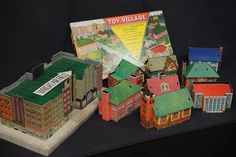 #toy-village  Vintage Built Rite Toy Village Set #245 Incredible Original Box ca.1940 MIB
