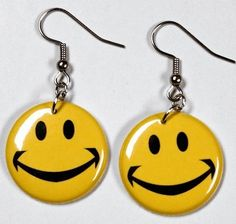 Yellow Happy Face Button Earrings by theangryrobot on Etsy