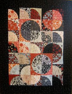 Patchwork Quilt - black and red Japanese Drunkard's Path wall hanging by kallistiquilts