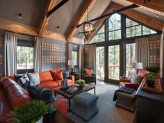 The light-filled family room is packed with color, style and comfortable seating for a crowd.  A palette of rich grays and red-orange hues creates an inviting space perfect for lounging or taking in mountain views.  http://www.hgtv.com/dream-home/family-room-pictures-from-hgtv-dream-home-2014/pictures/index.html?soc=pindhm