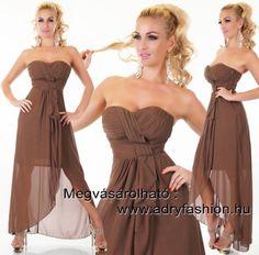 Barna színű   elegáns alkalmi maxi női ruha muszlin dísszel