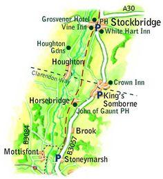 Stockbridge to Mottisfont route map
