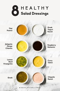 Say hello to 8 homemade healthy salad dressings that are quick and easy to make. Perfect for topping salads, dipping sweet potato fries in or drizzling on pizza or tacos. You're going to love these homemade dressing recipes made with ingredients you can actually pronounce. #salad #homemade #mealprep #dressing #healthyeating #healthyrecipes