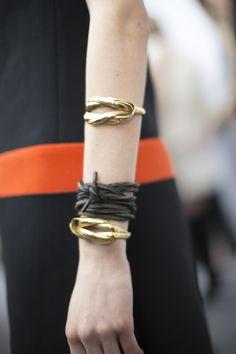leather tie// Giambattista Valli Fall/Winter 2015 Backstage on Moda Operandi