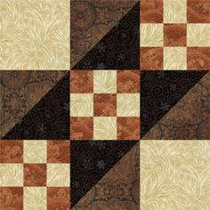 Free Quilt Block Patterns, M through S: Road to California Quilt Block Pattern - 9""