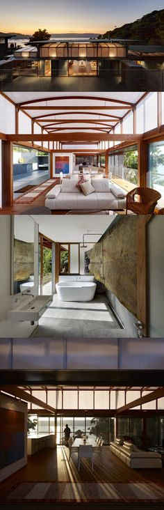 Cliff Face House - Design: Fergus Scott Architects and Peter Stuchbury Architects  Photography: Michael Nicholson  Another incredible house built on the side of a cliff - but this Palm Beach, NSW house actually incorporates the cliff face into the interior of the house as a wall.