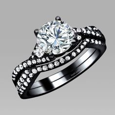 925 Sterling Silver White Cubic Zirconia Black Wedding Bridal Ring Set