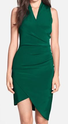 Women's Nicole Miller Asymmetrical Crepe Faux Wrap Dress from Nordstrom. Shop more products from Nordstrom on Wanelo. Nicole Miller, Green Cocktail Dress, Collar Styles, Hot Outfits, Faux Wrap Dress, Asymmetrical Dress, Nordstrom Dresses, Dress Skirt, Party Dress