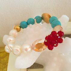 Pulsera turquesas y perlas by Luz Marina Valero