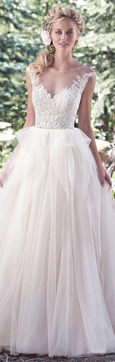 Bellethemagazine wedding dresses | Maggie Sottero Spring 2016 | Floor White Ball Gown Illusion $$ ($1,001-2,000)