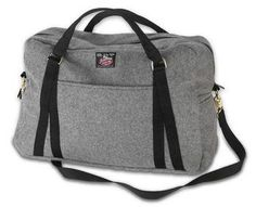 """Weekender Bag by Johnson Woolen Mills. $120. This roomy-but-light medium-gray wool bag will take you from office to B getaway in style. Full zipper for easy packing and convenient exterior side pouch. Designed in Johnson by Johnson Woolen Mills with both men and women in mind. 1"""" heavy-webbing straps. http://www.vermontlifecatalog.com/products/126462-weekender-bag#"""