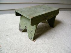 Primitive Wooden Painted Stool by assemblage333 on Etsy, $45.00