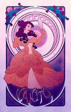 """I had to put one of these up here to say: I am not impressed by this series. I would title this, """"Nouveau Poorly Rendered."""" Disney Art Nouveau Seven Deadly Sins - Vanity <<< Thank you! The Disney princesses are greatly misrepresented in this series Disney Magic, Walt Disney, Disney Amor, Disney Girls, Disney Belle, Art Nouveau Disney, Disney Fan Art, Disney Animation, Disney Princess Vanity"""