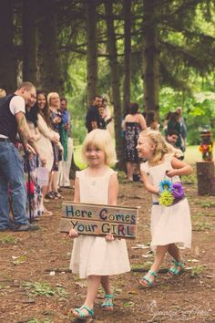 Flower Girls Woods Trees Forest Hippies Wedding Flowers Sign Copyright Sparrow Heart Photography, Pittsburgh PA