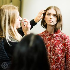 Behind the scenes: hair-and-makeup check during pre-show fittings #toryburch #toryfall14  #nyfw