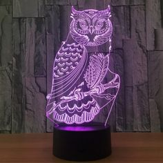 Owl Shape 7 Colors Change 3D Touch Night Light