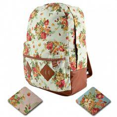 New Girls Canvas Flower Rucksack Backpack School College Travel Cabin Bag