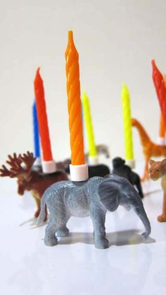 Zoo Animal PARTY ANIMALS Birthday Candle Holders set of 9. Bet I could buy the animals, drill a hold, and glue the cangles in