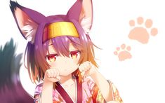 Anime 1920x1200 anime anime girls No Game No Life animal ears fox girl fox tail red eyes short hair yukata white  background Hatsuse Izuna