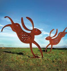The Running Hare, rusted metal garden sculpture / garden art with a rusted patin… – Modern Design - Modern