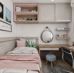 Image may contain: indoor Tiny Bedroom Design, Beautiful Bedroom Designs, Home Room Design, Small Room Design, Simple Bedroom Decor, Room Ideas Bedroom, Stylish Bedroom, Small Room Bedroom, Dorm Room Designs