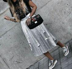 silver skirt #fashion #editastale