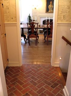 sealed brick floor for the kitchen - love the multicolor | for my