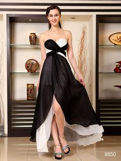 GOODコントラスト!! ブラック系イブニングロングドレス♪ - ロングドレス・パーティードレスはGN|演奏会や結婚式に大活躍!