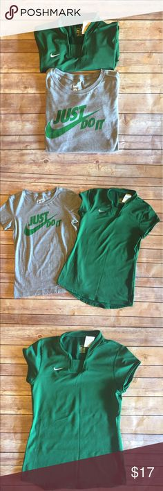 Nike Bundle: 2 Nike Athletic Shirts Bundle includes Green Nike shirt 82% Polyester & 18% Spandex. Gray Shirt is Slim fit 100% cotton. Great condition. Nike Tops
