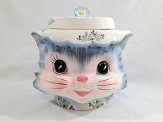 Vintage Lefton Miss Priss Cookie Jar. $135.00, via Etsy.....DAMN glad mine was $5 at a yard sale