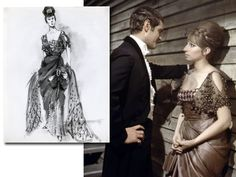 """Barbra Streisand Archives   Funny Girl (film) 1968   Irene Sharaff Designed Costumes.  (Above: The """"People"""" gown for the movie was very similar to the Broadway stage version—Sharaff designed a beautiful beaded dress of olive green silk marquisette over pink satin. Streisand has the show dress displayed in her Califormia home. A private collector owns the movie dress.)"""