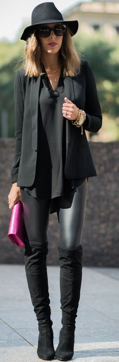 Black Pop Of Pink Fall Inspo by For The Love Of Fancy