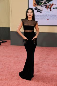 "Tom + Lorenzo July ""Once Upon a Time in Hollywood"" Los Angeles Premiere Red Carpet Rundown Vanessa Hudgens Dress, Vanessa Hudgens Style, Velvet Gown, Black Velvet Dress, Celebrity Dresses, Celebrity Style, Isabelle Drummond, Celebrity Baby Pictures, Armani Black"