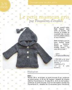319d5a03ab67 Le petit manteau gris par Poussières d étoiles - free Tutos Tricot, Tricot  Vêtement