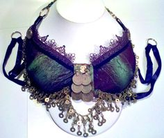 Iridescent tribal fusion belly dancing bra size by MerryMaenad, $175.00