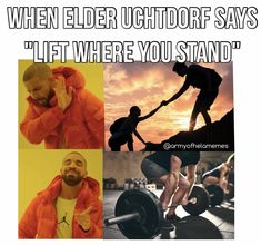 """""""Lift where you stand""""- Elder Uchtdorf Drake Meme, Lds Memes, Weight Lifting, Muscles, Jokes, Photo And Video, Sayings, Funny, Movie Posters"""
