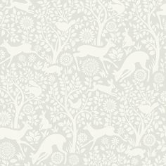 Anahi Light Grey Forest Fauna HAS01232 Wallpaper Brewster Wallcoverings HAS01232
