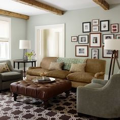 Gray green walls with cream trim...lovely!