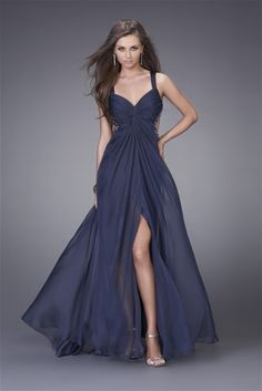 Cool Wide Straps Sweetheart Split Beadings Dotted Waist Chiffon Sweep Train Evening Dress (ED-215)