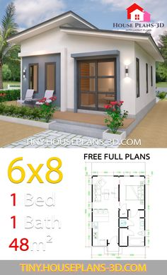 Studio House Plans Shed Roof - Tiny House Plans - Architecture Tiny House Plans Free, Tiny House Cabin, Tiny House Living, New House Plans, House Floor Plans, Tiny Home Floor Plans, The Plan, How To Plan, Shed Roof