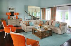 turquoise and orange living room | Colordrunk Designs