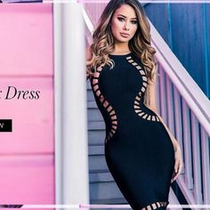 ae319499df 2016 Vestidos Sexy Black Women Bodysuit Hollow out Special Occasion Short  Celebrity Club Cocktail Party Dresses Bandage Dress-in Dresses from Women s  ...