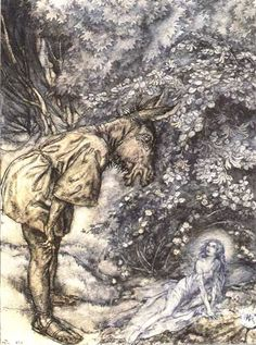 Arthur Rackham - Illustrations for A Midsummer Night's Dream Act III: Scene I, Titania and Bottom Arthur Rackham, Shakespeare, The Wombats, Vintage Fairies, Fairytale Art, Midsummer Nights Dream, Dream Art, Beautiful Creatures, Illustration Art