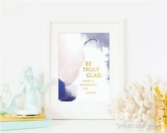 Be Truly Glad there is wonderful joy ahead - 1 peter watercolor and gold foil print by GraceSerendipityShop