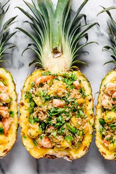 Pineapple Shrimp Fried Rice Pineapple Shrimp Fried Rice has a delicious flavor combination of savory, sweet and spicy. Serve it in hollowed out pineapples for a beautiful presentation! Pineapple Shrimp Fried Rice I love fried r Pineapple Shrimp, Pineapple Fried Rice, Pineapple Recipes, Pineapple Bowl, Healthy Recipes, Healthy Nutrition, Cooking Recipes, Nutrition Data, Cooking Chef