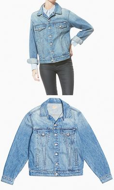 Up your outerwear game with a timeless, tomboy-inspired layer. With vintage fading and an oversized shape, it's only fitting that this boyfriend denim jacket is named Brother.