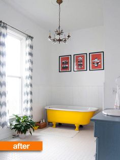 Bright yellow tub adds weight to an otherwise airy bathroom.
