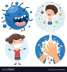 Health care cartoon character vector image on VectorStock Creative Poster Design, Creative Posters, Fall Classroom Decorations, Hand Washing Poster, Halloween Templates, Logos Retro, School Cartoon, School Clipart, Cute Emoji