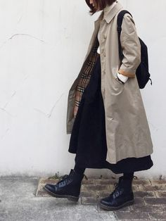 Definitely,something I would wear in public! I love the trench with the skirt and especially the boots! Hijab Fashion, Korean Fashion, Girl Fashion, Fashion Outfits, 80s Fashion, Style Fashion, Fashion Tips, Winter Outfits, Cool Outfits